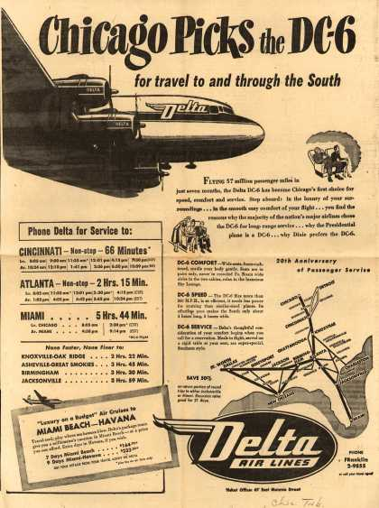 Delta Airline's Delta Air Lines – Chicago Picks the DC-6 for Travel To and Through the South (1949)