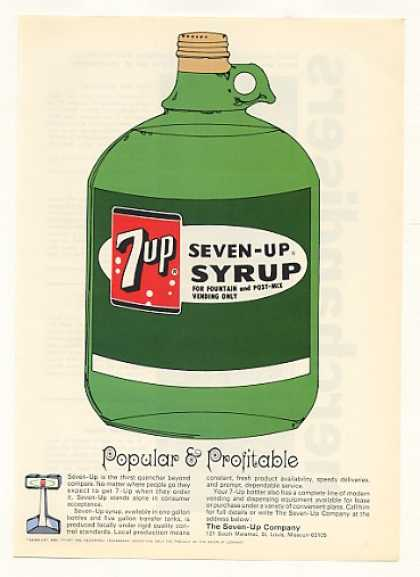 7-Up Syrup Bottle Popular Profitable Trade (1966)