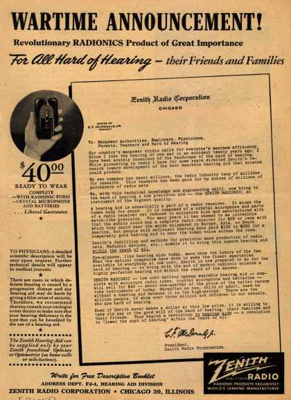 Zenith Radio Corporation's Zenith Radionic hearing aid – Wartime Announcement (1944)