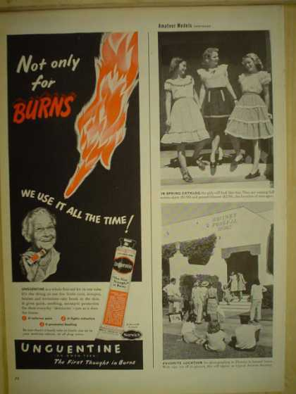 Unguentine burn cream. The first thought on burns (1946)