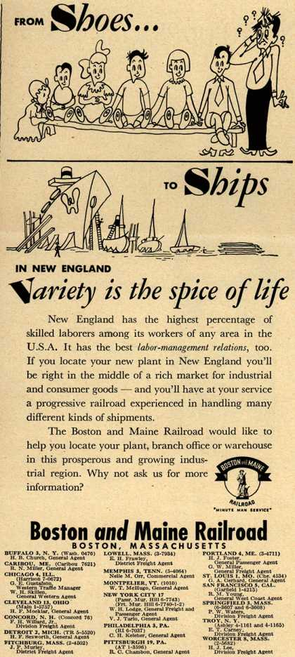 Boston and Maine Railroad's New England – From Shoes...TO Ships IN NEW ENGLAND Variety is the spice of life (1951)