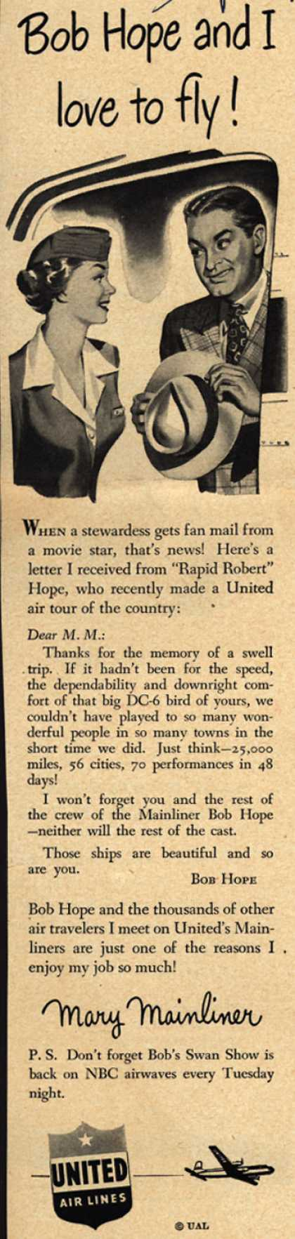 United Air Lines – Bob Hope and I love to fly (1949)
