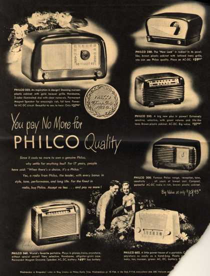 Philco Corporation's Various – You pay No More for Philco Quality (1948)
