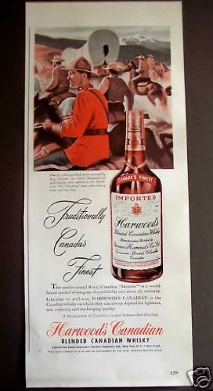 Harwood's Canadian Whisky Ray Johnson Art (1949)