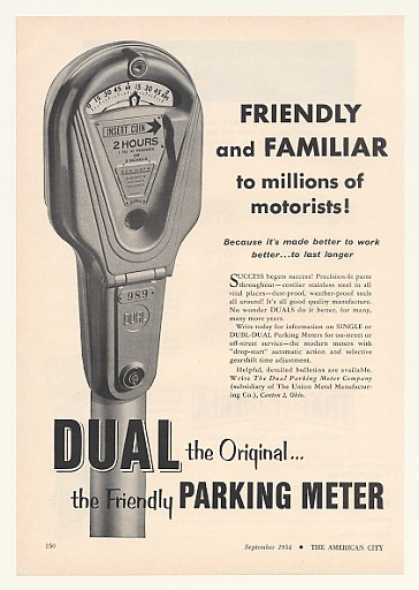 Dual Single Parking Meter Friendly Familiar (1954)