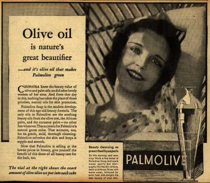 Colgate-Palmolive-Peet Company's Palmolive Soap – Olive oil is nature's great beautifier (1933)