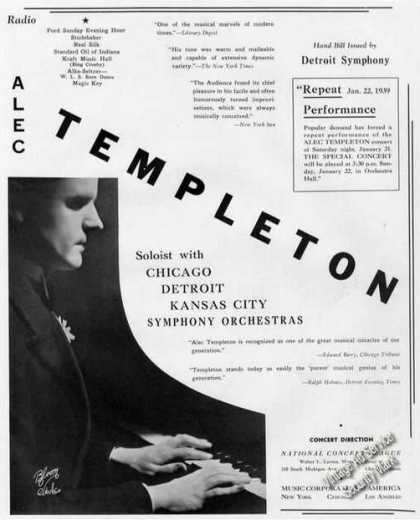 Alec Templeton Photo Piano Antique Booking (1939)
