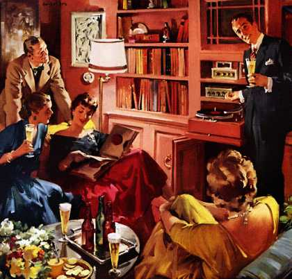 "When you're having friends over ... what makes a glass of beer taste 			so good? 			""Hi-Fi"" by Haddon Sundblom U.S. Brewers Foundation (1956)"