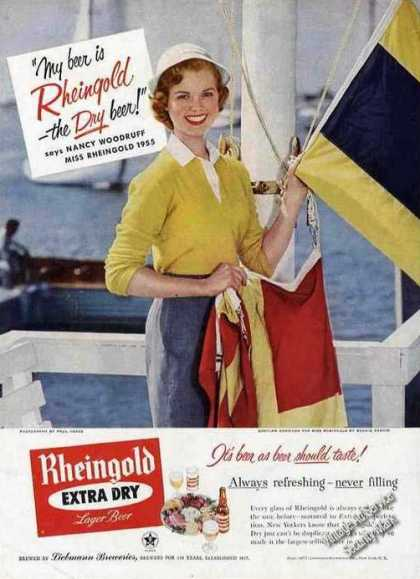 Miss Rheingold Beer Nancy Woodruff On Sailboat (1955)
