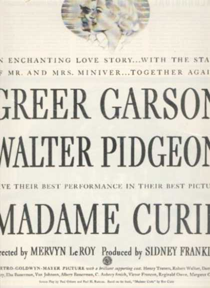 Madame Curie (Greer Garson and Walter Pigeon) (1944)
