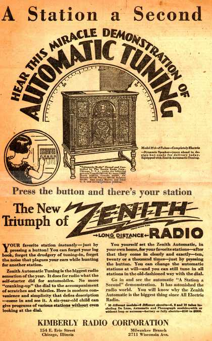 Zenith Radio Corporation's Zenith Automatic Tuning Radio – A Station a Second: Hear this Miracle Demonstration of Automatic Tuning (1928)