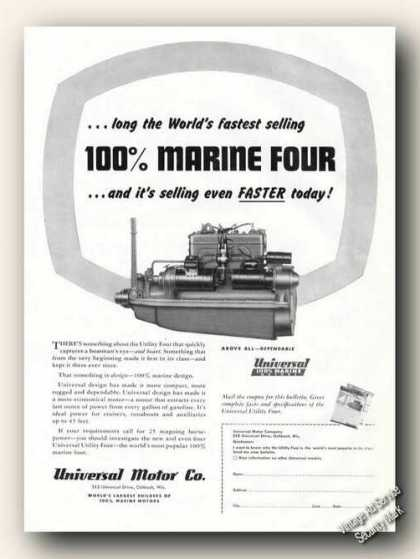 Universal Utility Four 100% Marine Engines Ad Boat (1947)