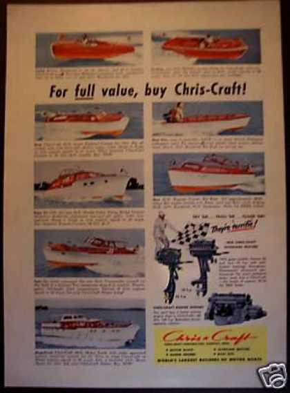 Chris Craft Boats Ad Photos of 8 Models Shown (1951)