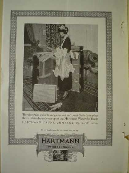 Hartman Wardrobe trunks Travelers value luxury (1920)