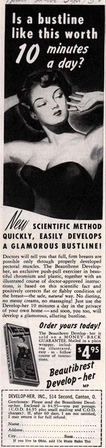Develop-Her, Incorporated's Beautibrest Develop-her – Is a bustline like this worth 10 minutes a day? (1950)