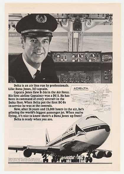 Delta Airlines 747 Captain Dana Jones Photo (1971)