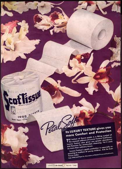 Scott Paper Company's ScotTissue – Its Luxury Texture gives you more Comfort and Protection (1940)