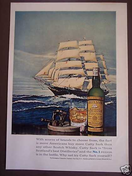Sailing Ship Art Cutty Sark Whiskey (1967)
