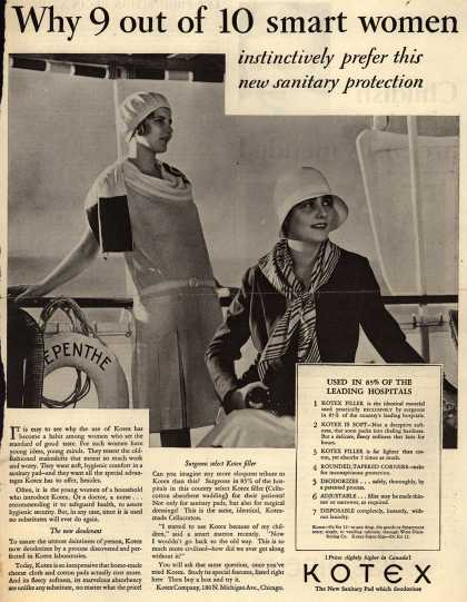 Kotex Company's Sanitary Napkins – Why 9 out of 10 smart women instinctively prefer this new sanitary protection (1929)