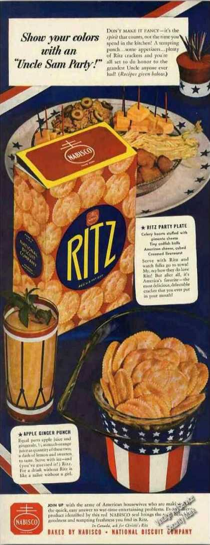 "Ritz Crackers ""Uncle Sam Party"" Wwii (1942)"
