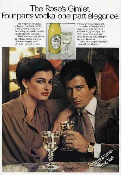 The Rose's Gimlet One Part Elegance Lime Juice (1979)