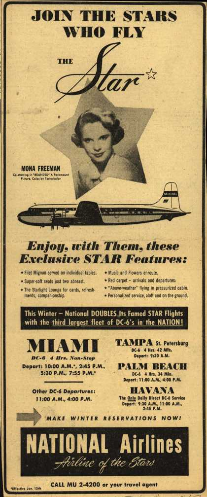 National Airline's Star – JOIN THE STARS WHO FLY THE STAR (1951)