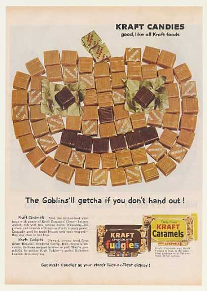 Kraft Candies Caramels Fudgies Jack-O-Lantern (1959)