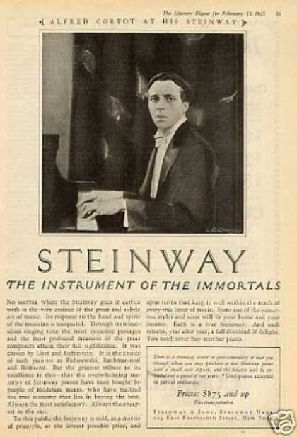 Steinway Piano Ad Alfred Cortot (1925)