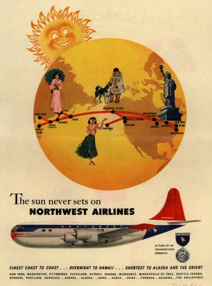 Northwest Airlines &#8211; The sun never sets on Northwest Airlines (1951)