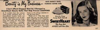 SweetHeart – Beauty is My Business- Says Nancy Bass, Famous Cover Girl (1949)