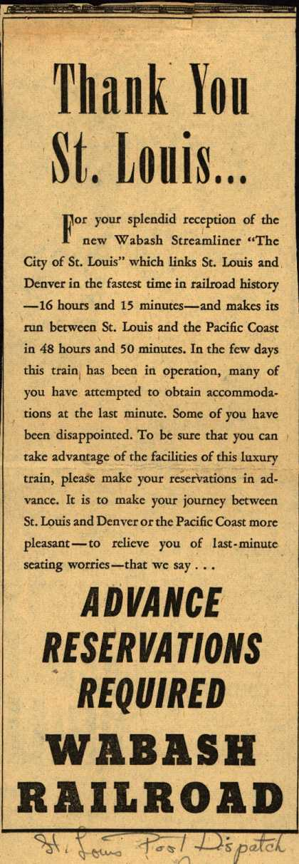 """Wabash Railroad's """"The City of St. Louis"""" Streamliner – Thank You St. Louis... (1946)"""