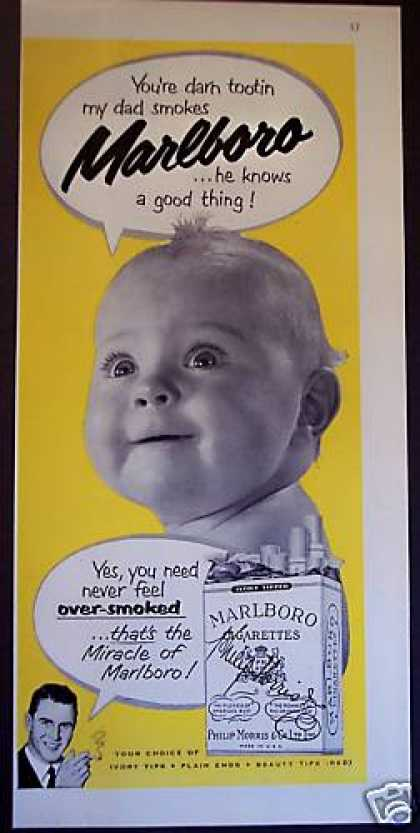 Cute Baby Photo Dad Smokes Marlboro Cigarette (1951)