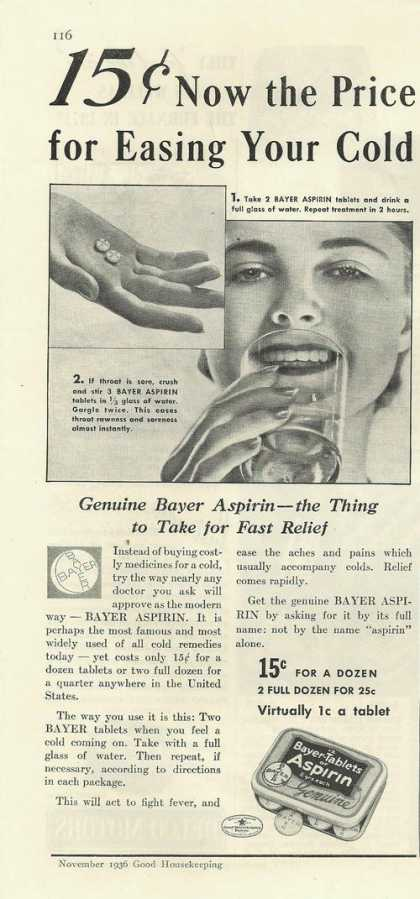 Bayer Tablets Genuine Aspirin (1936)