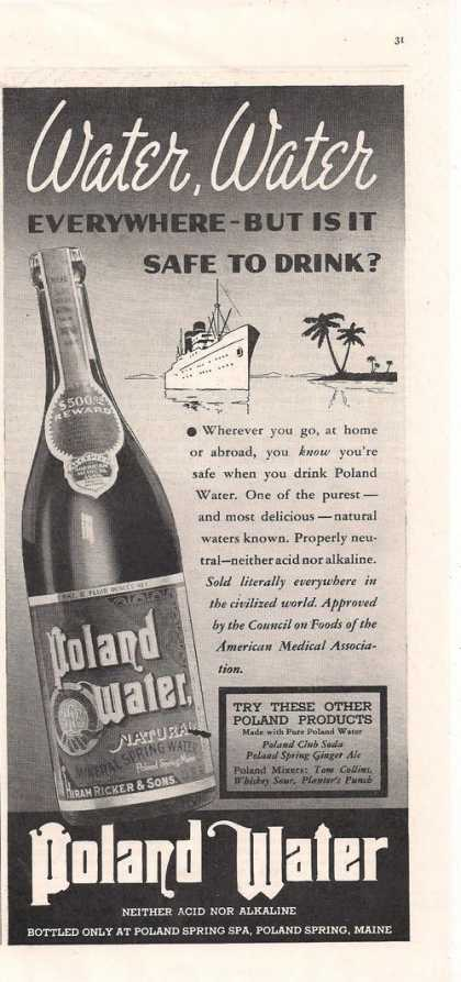 Bottled Poland Water (1938)