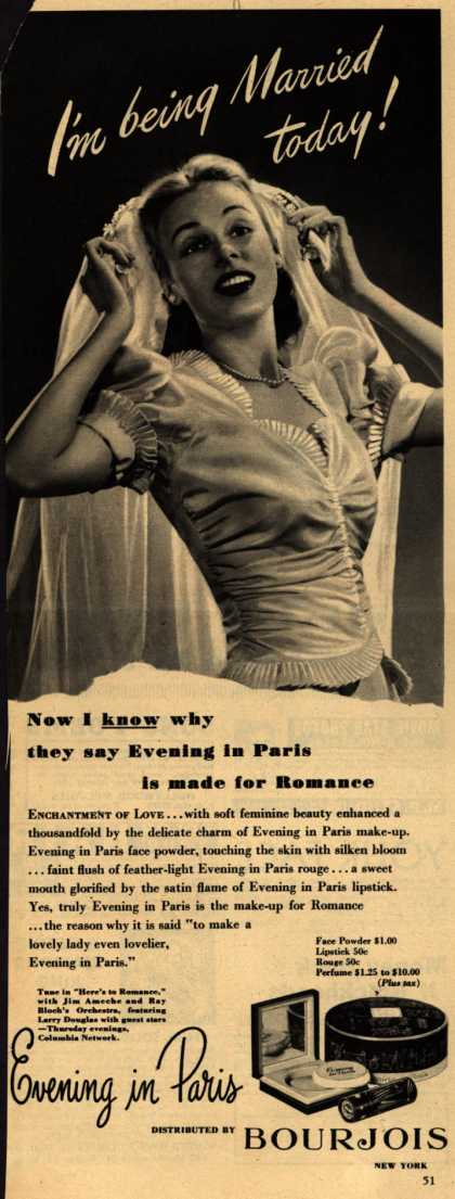 Bourjoi's Evening in Paris Cosmetics – I'm being Married today (1945)