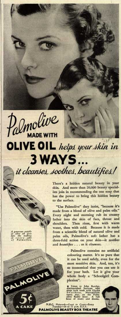 Palmolive Company's Palmolive Soap – Palmolive Made With Olive Oil helps your skin in 3 different ways... (1935)