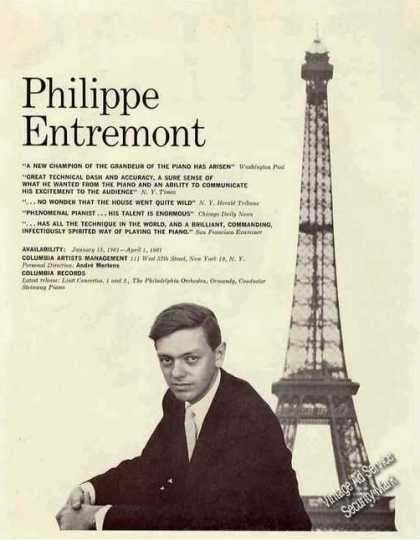 Philippe Entremont Photo Pianist Rare Booking (1960)