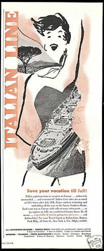 Italian Line Cruise Ship Woman Art (1955)