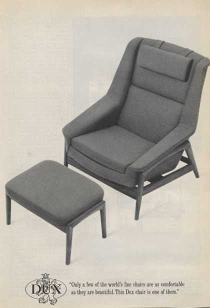 Dux Chair Black & White Chair and Ottoman (1965)