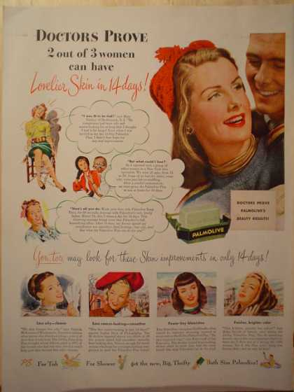 Palmolive Soap. Lovelier skin in 14 days (1947)