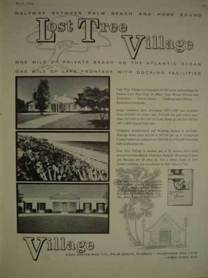 Lost Tree Village Palm Beach Florida 2 pages with other Real estateas well (1964)