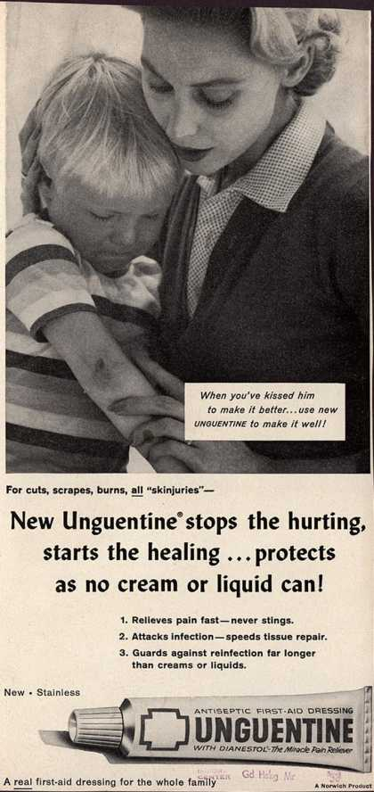 Norwich Pharmacal Co.'s Unguentine – New Unguentine stops the hurting, starts the healing ...protects as no cream or liquid can (1958)