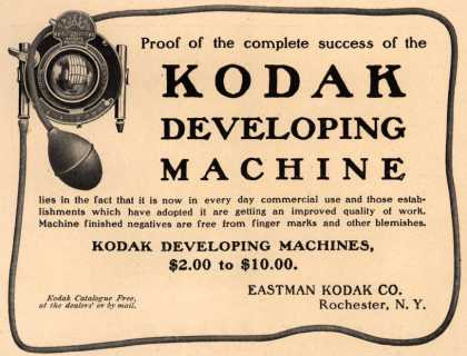 Kodak – Proof of the complete success of the Kodak Developing Machine (1904)
