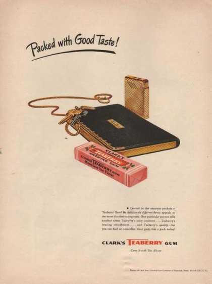 Clarks Teaberry Gum Packed With Good Taste (1946)