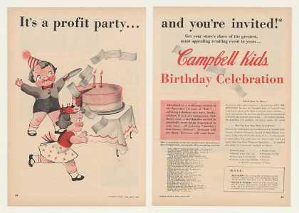 Campbell Kids Birthday Celebration 2-Page Trade (1954)