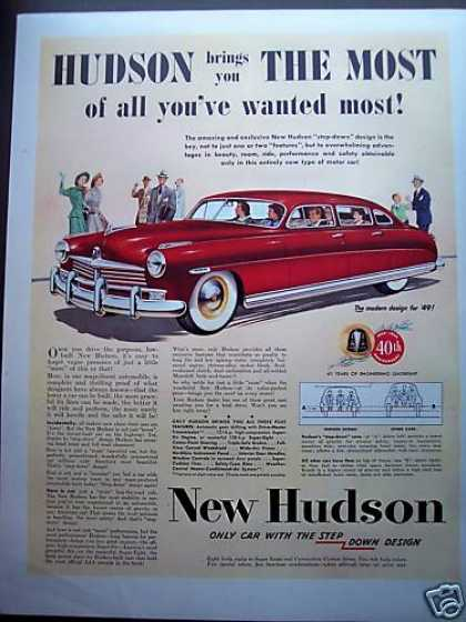 New Hudson Step Down Design Red Car (1949)