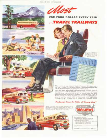 National Trailways Bus Print (1949)