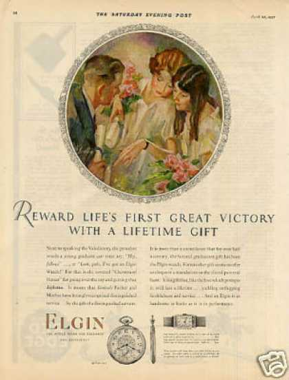 Elgin Watch Color Ad &quot;Reward Life&#8217;s First... (1927)