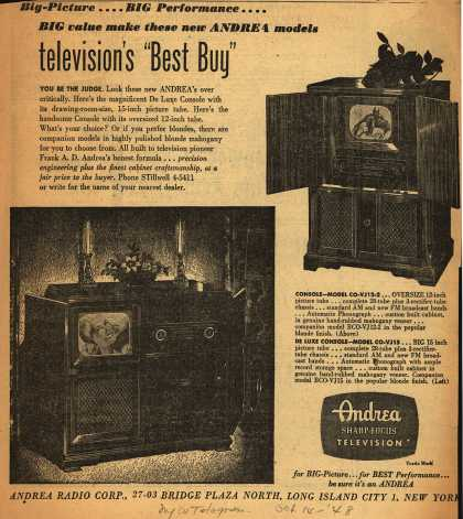 "Andrea Radio Corporation's Television Consoles – Big-Picture... Big Performance... Big Value Make These New Andrea Models Television's ""Best Buy"" (1948)"