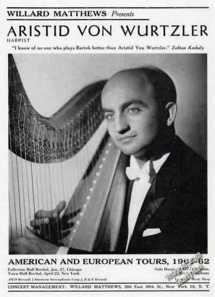 Aristid Von Wurtzler Photo Harp Booking (1961)